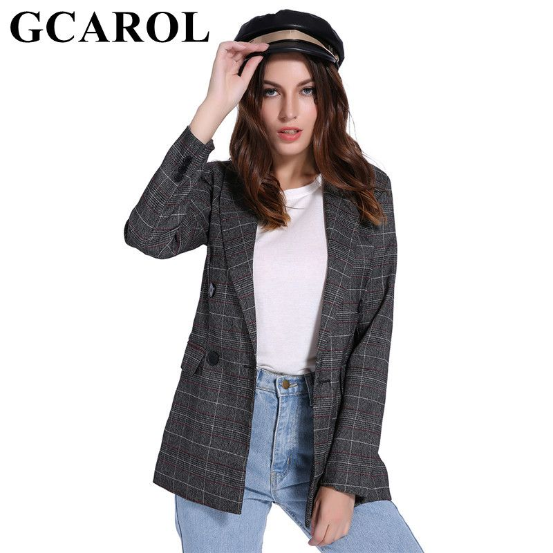 GCAROL Autumn Winter Women Double Breasted Blazer Notched Collar Plaid Pattern Slimming OL Business Suit Elegant Outwear