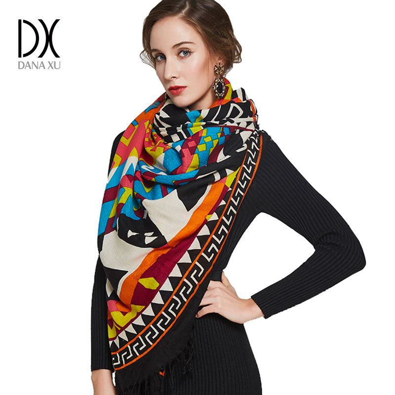 Warm Scarf Fashion Scarves and Shawls Women Cape Muslim Hijab Plaid Blanket Scarf Wool Bandana Poncho Face Shield Luxury Brand