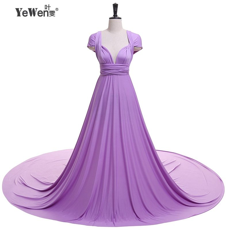 YEWEN V-Neck Open Back A Line Long Evening Dress Party Elegant Vestido De Festa Fast Shipping Prom Gowns formal dresses 2018