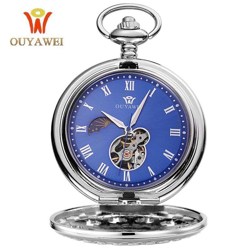 Для мужчин механические карманные часы стимпанк сеть Винтаж часы-браслет скелет мужской часы Прозрачный черный ретро Часы