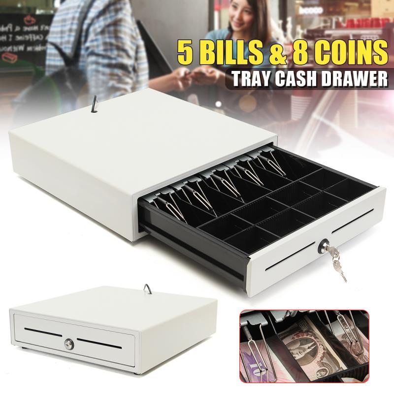 Electronic Cash Drawer Cash Register POS Tray 5 Bill 8 Coins Heavy Duty Storage Cash Register Tray Box Classify Store Money Box