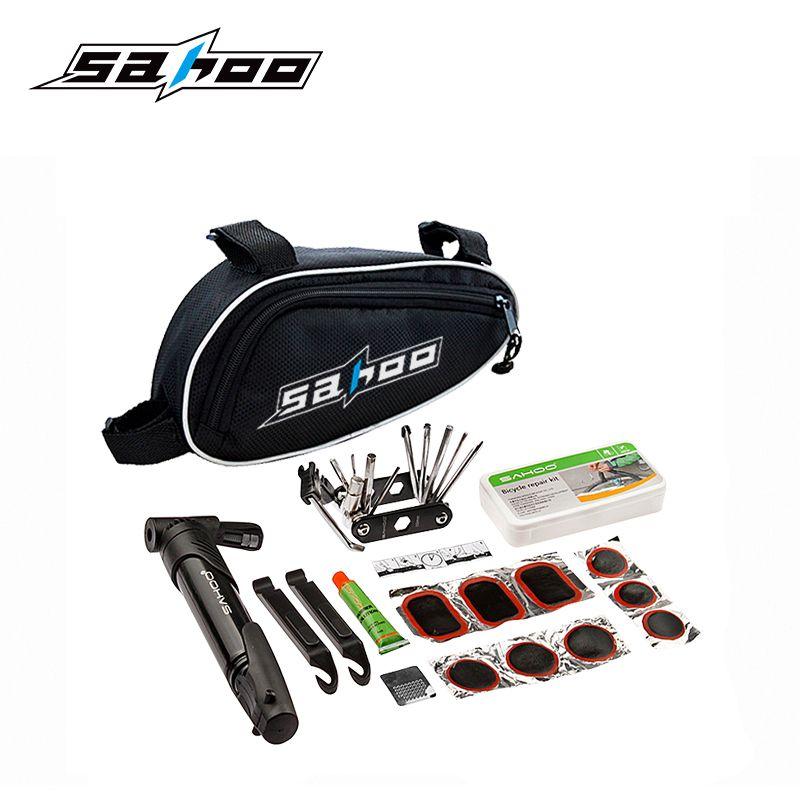 SAHOO 15 in 1 Radfahren Fahrrad Werkzeuge Bike Repair Kit mit Beutel-pumpe einstellen Schwarz Fahrradzubehör Berg Schraubendreher Werkzeug