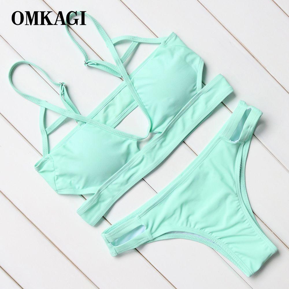OMKAGI Marque 2017 Nouveau Design Menthe Vert Bikinis Femmes Push Up Rembourré Maillots De Bain Femmes Bikini Brésilien Maillot de Bain Plage Maillot de bain