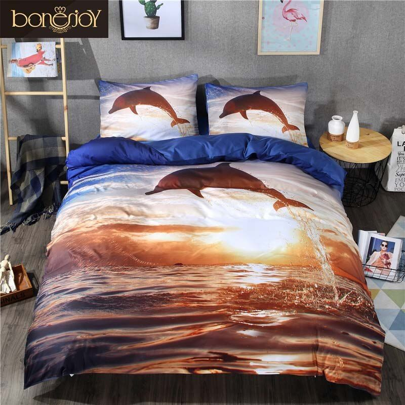 Bonenjoy 3D Bedding Sets King Size Sea and Dolphin Print 3D Bed Sheet Duvet Covers For Double Bed 3D Animals Bed Covers Dolphin