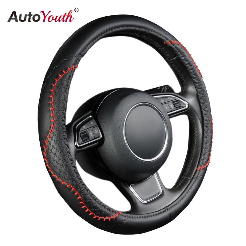 AUTOYOUTH couverture de roue de voiture chaude PU couverture de volant en cuir Fit 38 cm rouge ondulé ligne audacieuse pour vw golf 4