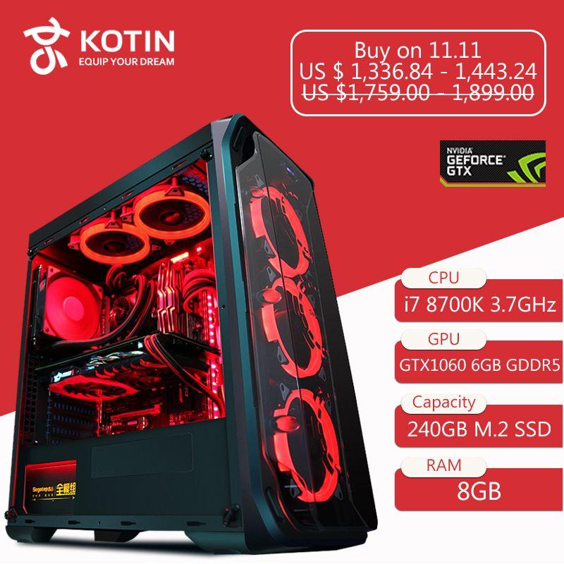 GETWORTH R35 High End Gaming Desktop Computer Schreibtisch I7 8700 karat 1060 240g SSD 8g RAM Z370 Marke new Red Series PC Wasser Kühlung