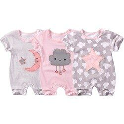 2018 Nouveau Bébé Barboteuses d'été Coton bébé fille vêtements à manches courtes impression bébé garçons Combinaisons Roupas Bebes Vêtements Pour Bébés