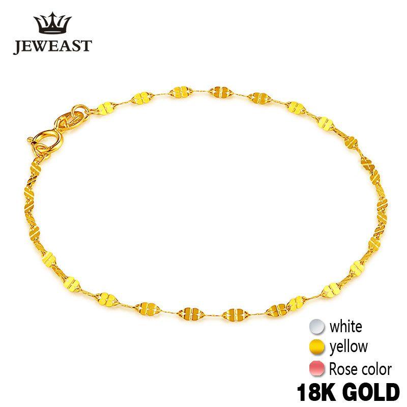 18 K oro puro pulseras femeninas Joyería fina cuatro trébol regalo chica moda fino sólido 750 real brazalete partido buena agradable como verdadera