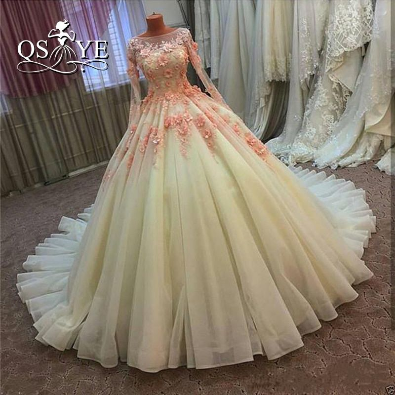 Vintage Ball Gown Wedding Dresses 2017 Real Photo 3D Floral Handmade Flowers Court Train Tulle Long Sleeves Cheap Bridal Gowns