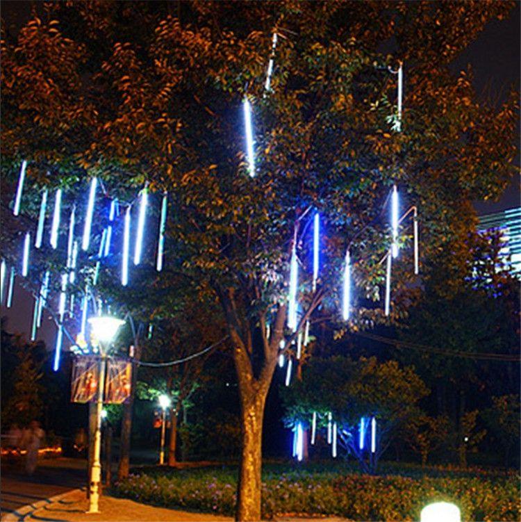 8 шт./компл. 30 см метеоритный дождь трубы AC100-240V LED Multi-Коло Рождество огни Свадебная вечеринка сад Xmas свет шнура открытый