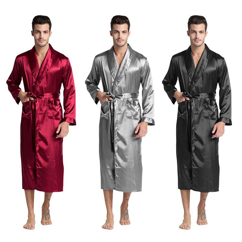 Tony et Candice Hommes de Soie Satin Peignoir Robe Longue Solide Soie Pyjamas Hommes Soie Chemise De Nuit kimono homme Dressing robe