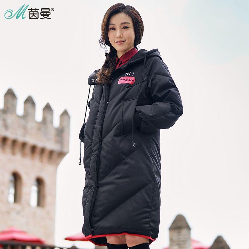INMAN 2018 Mit Kapuze Druck Freizeit Damen Weibliche Mädchen Winter Lange Ente Unten Leder Warme Mantel Frauen Jacken Mode Mantel