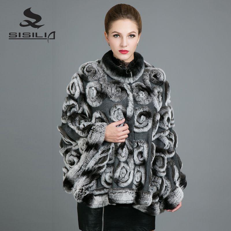 SISILIA 2017 New Real Rex Rabbit Fur Coats Womens Fashion Natural Fur Jackets High Quality Good Rabbit Fur Coats Female
