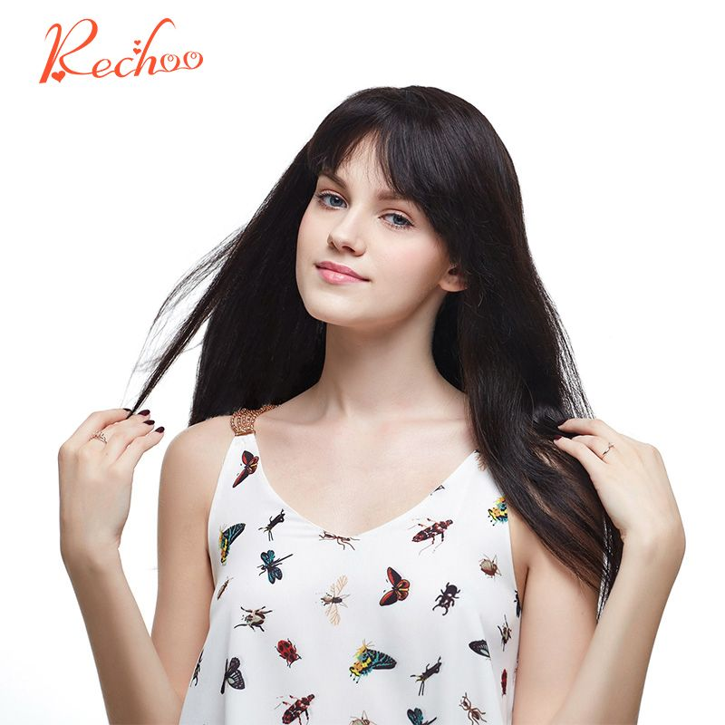 Rechoo Straight Machine Made Remy Hair #1B Natural Black Color 100% Human Hair 10PCS Clip In Extensions 200G 160G 22 24 incheS
