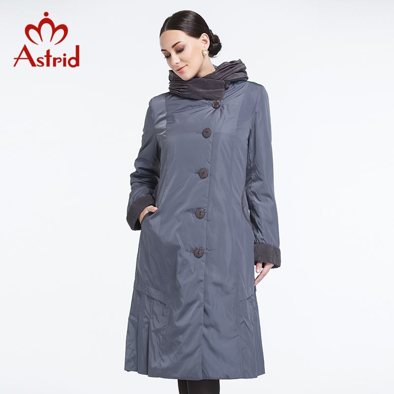 Astrid 2018 Women Trench Coat Spring and Summer coat Slim Hooded Light color Falbala Lapel Button BigSize High Quality AY-9076