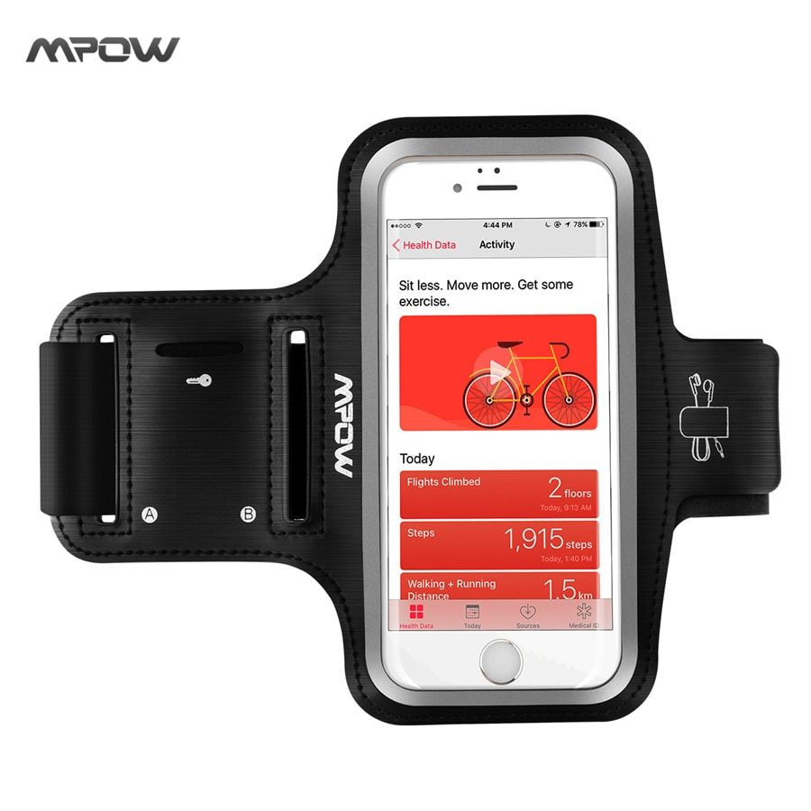 Mpow Running Sport Armband for iPhone 7 Adjustable Sweat-proof Case w/ Earphone and Key Holder for iPhone 7 etc 5.1'' Smarphones