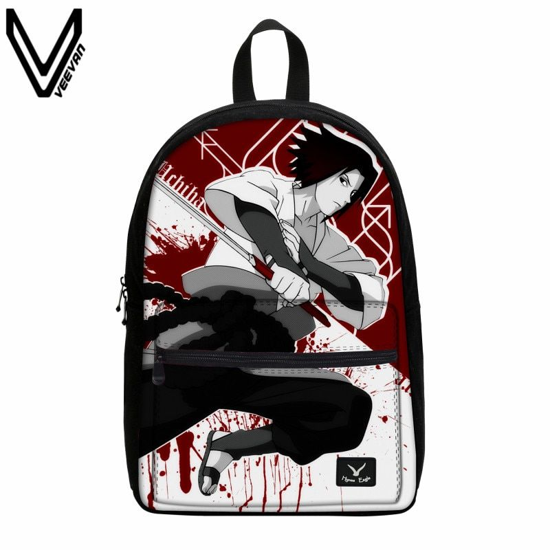 VEEVANV Anime Naruto Canvas Backpack Write Round Eyes Cartoon School Bag For Kids Uzumaki Naruto Uchiha Sasuke Hatake Kakashi