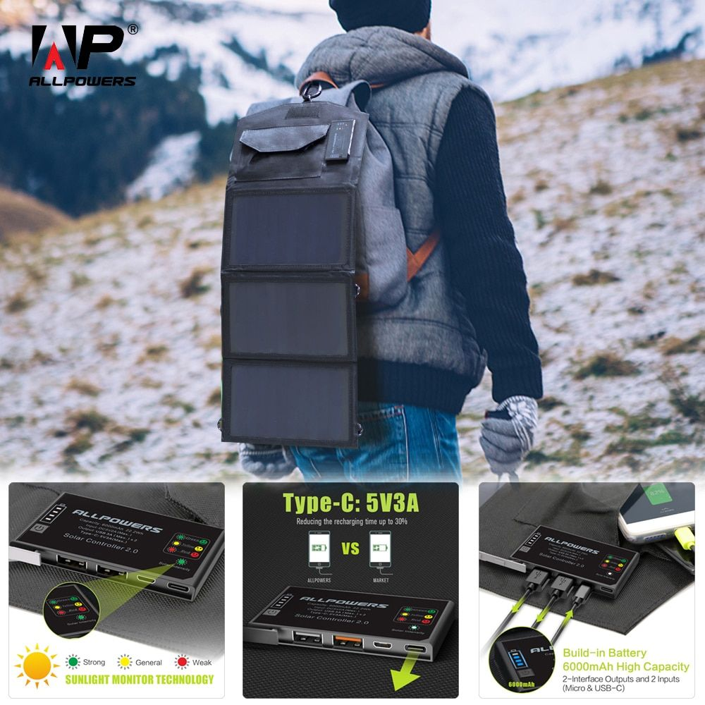 ALLPOWERS Phone Charger 5V 15W Solar Battery Charger Dual USB and Type-C 5V 3A(Max.) Outdoors Solar Powered Charger.