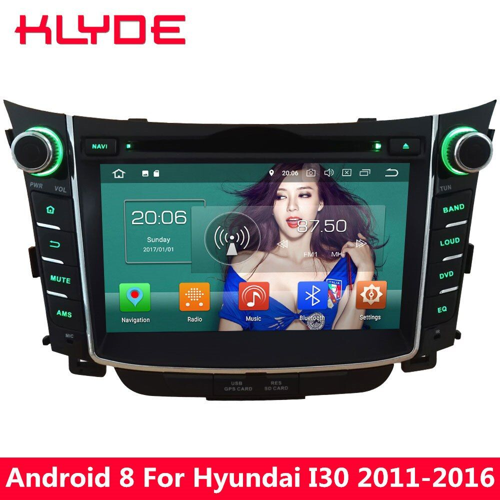 KLYDE 7'' Octa Core 4GB RAM Android 8.0 32GB ROM PX5 4G Car DVD Multimedia Player For Hyundai I30 2011 2012 2013 2014 2015 2016