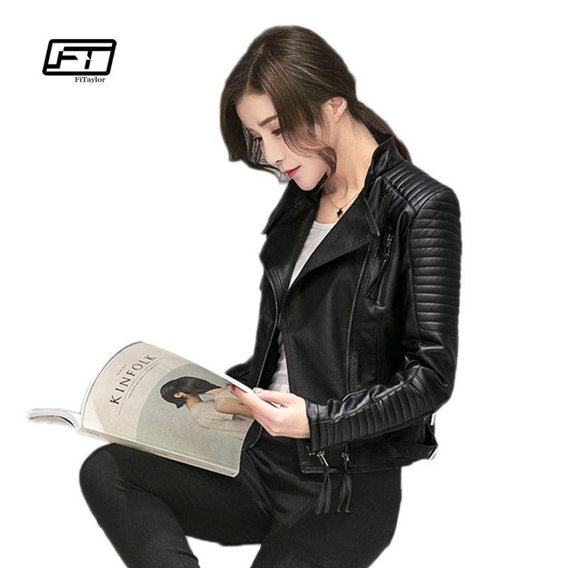 Fitaylor Women Spring Autumn PU Leather Jacket Casual Slim Soft Moto Jacket Biker Faux Leather Jacket Women