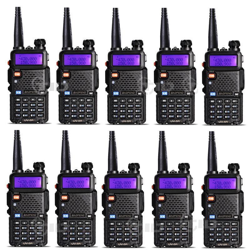 10pcs Baofeng uv-5r Walkie talkie 5W 128CH Dual Band VHF&UHF 136-174 & 400-520MHz Two Way Radio