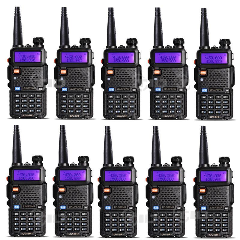 10pcs <font><b>Baofeng</b></font> uv-5r Walkie talkie 5W 128CH Dual Band VHF&UHF 136-174 & 400-520MHz Two Way Radio