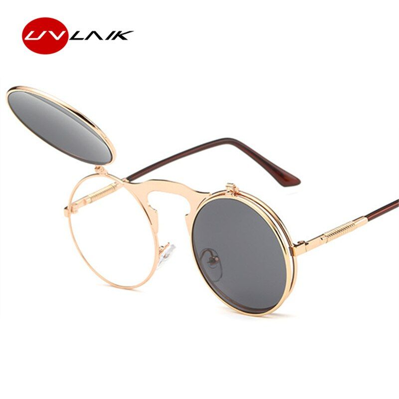 Rétro Personnalité Punk Rock lunettes de Soleil Vapeur Ronde Verres en forme de Coquille Mâle Femelle Miroir Modèle Lunettes de Soleil Femmes Hommes Marque Design