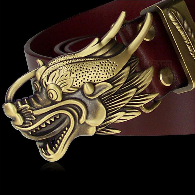 Vintage Do the Old Dragon Head Phoenix Feather Brass Plate Buckle Luxury Belt High Quality Smooth Buckle Leather Belts [Himunu]