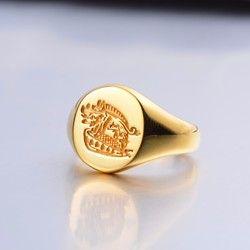 Kingsman The Secret Service Kustom Signet Rings untuk Pria Wanita 925 Sterling Perak Warna Emas Perhiasan Menyesuaikan Gratis Ukiran