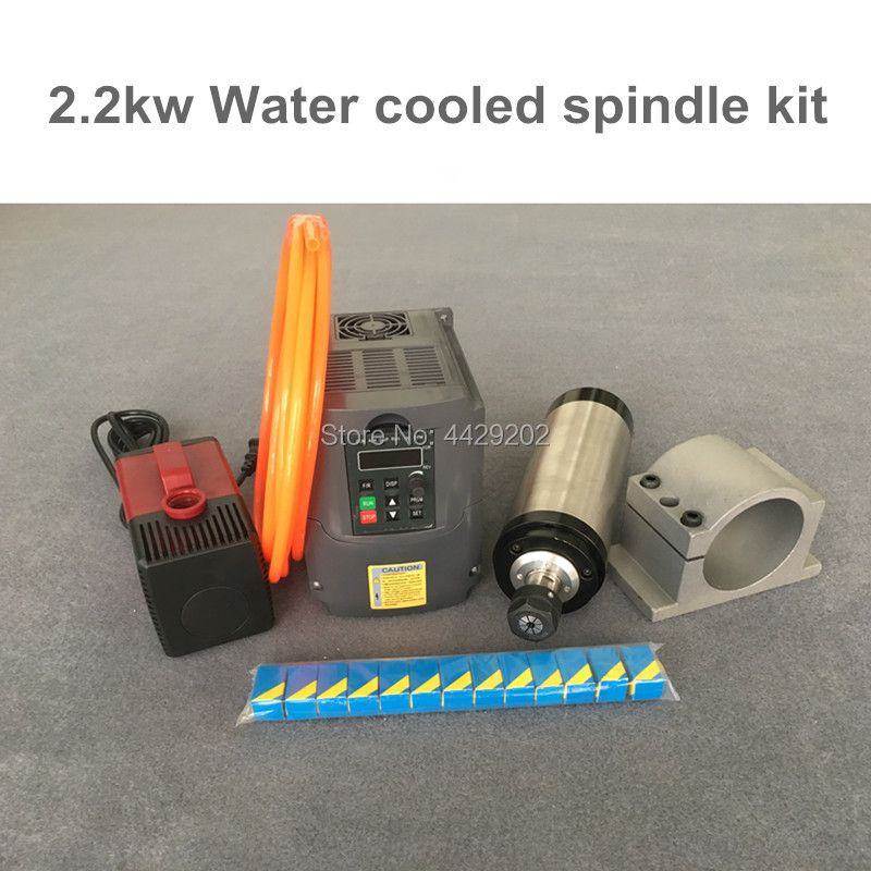 RU Delivery Water Cooled Spindle Kit 2.2KW CNC Milling Spindle Motor + 2.2KW VFD + clamp + water pump/pipe + ER20 for CNC parts