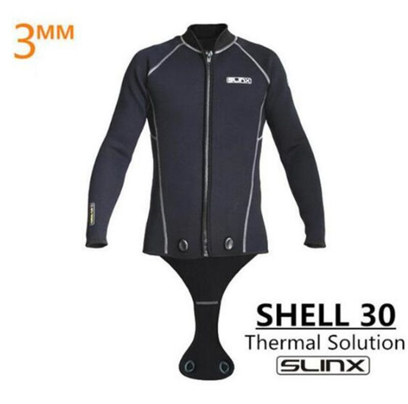 SLINX Men Scuba Diving Jacket 3mm Neoprene Wetsuit Keep Warm Long Sleeve Crotch Jacket for Snorkeling Spearfishing Surfing