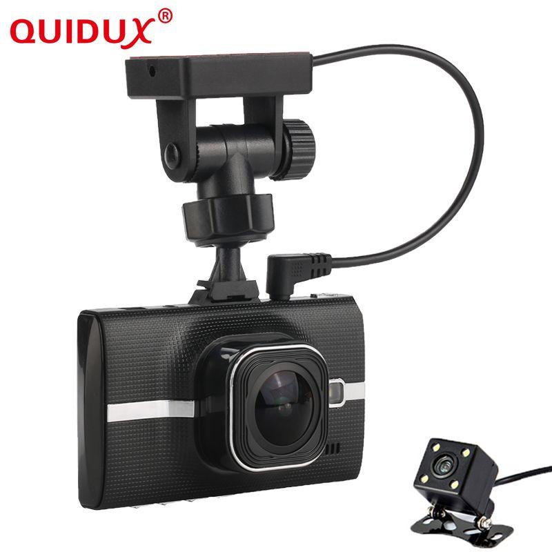 QUIDUX 3.0 inch Dual Lens Car DVR Dash Camera Full HD 1296P Dash Cam Camcorder w/ GPS Tracker / ADAS / LDWS / Parking Monitor