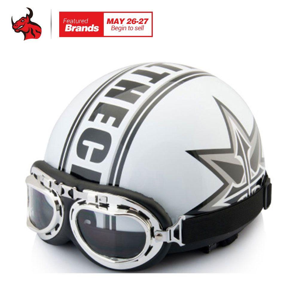 2017 Hot Sale Unisex New Summer Vintage Motorcycle Helmets Open Face Half Motorbike & Goggles Helmet Capacete free