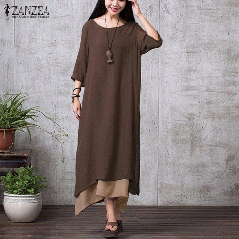 ZANZEA Fashion Cotton Linen Vintage Dress 2018 Summer <font><b>Autumn</b></font> Women Casual Loose Boho Long Maxi Dresses Vestidos Plus Size