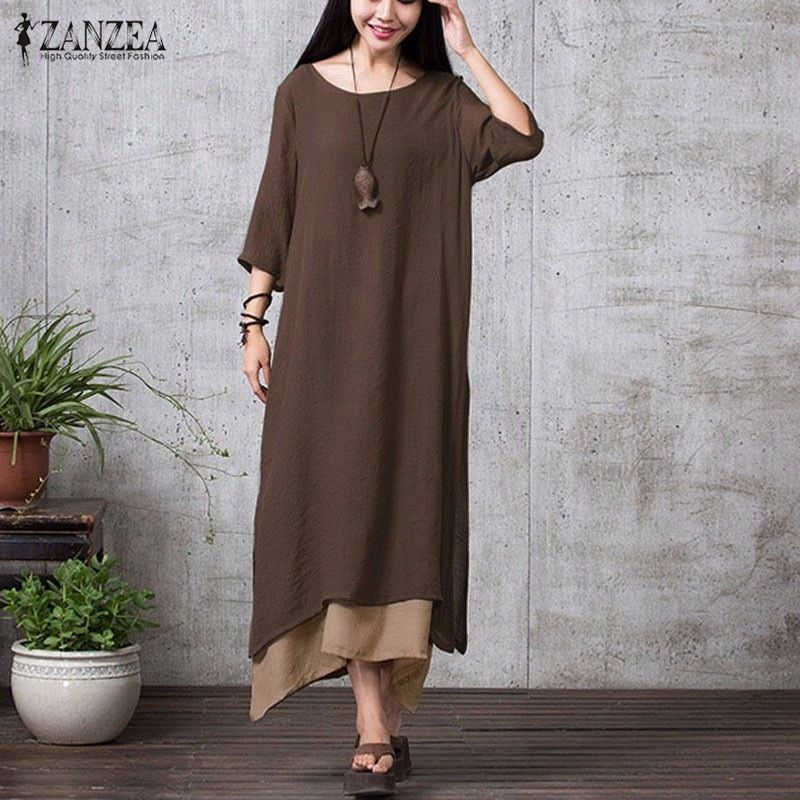 ZANZEA Fashion Cotton Linen Vintage Dress <font><b>2018</b></font> Summer Autumn Women Casual Loose Boho Long Maxi Dresses Vestidos Plus Size