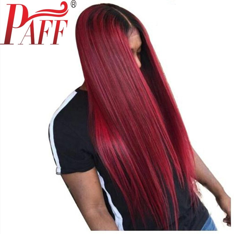 PAFF Wine red glueless lace human hair front wig straight virgin hair Brazilian two tone 1B 99J wig with middle part middle part