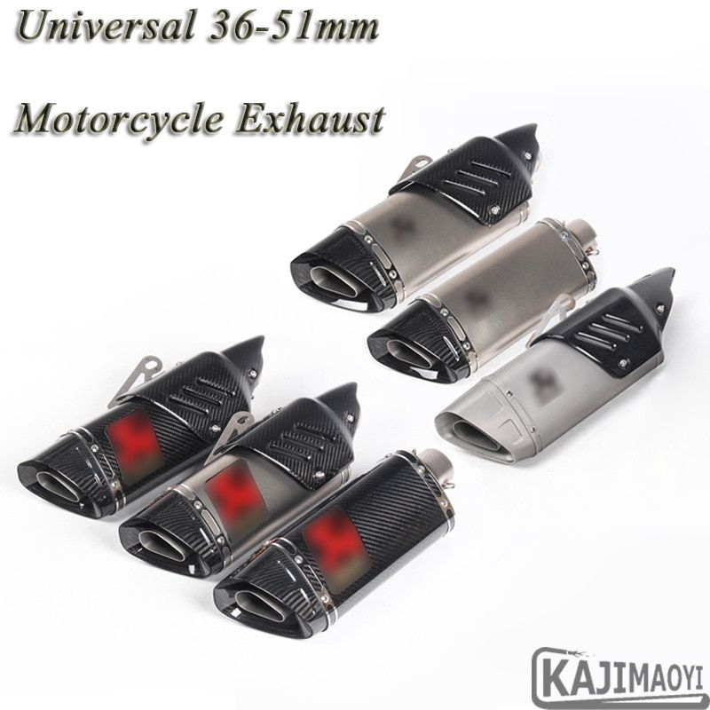 Motorcycle Exhaust Modified Uiversal 51mm Motorbike Laser Scooter Carbon Fiber Muffler Sticker For Yamaha R1 R6 ZX-6R ATV R3 K7