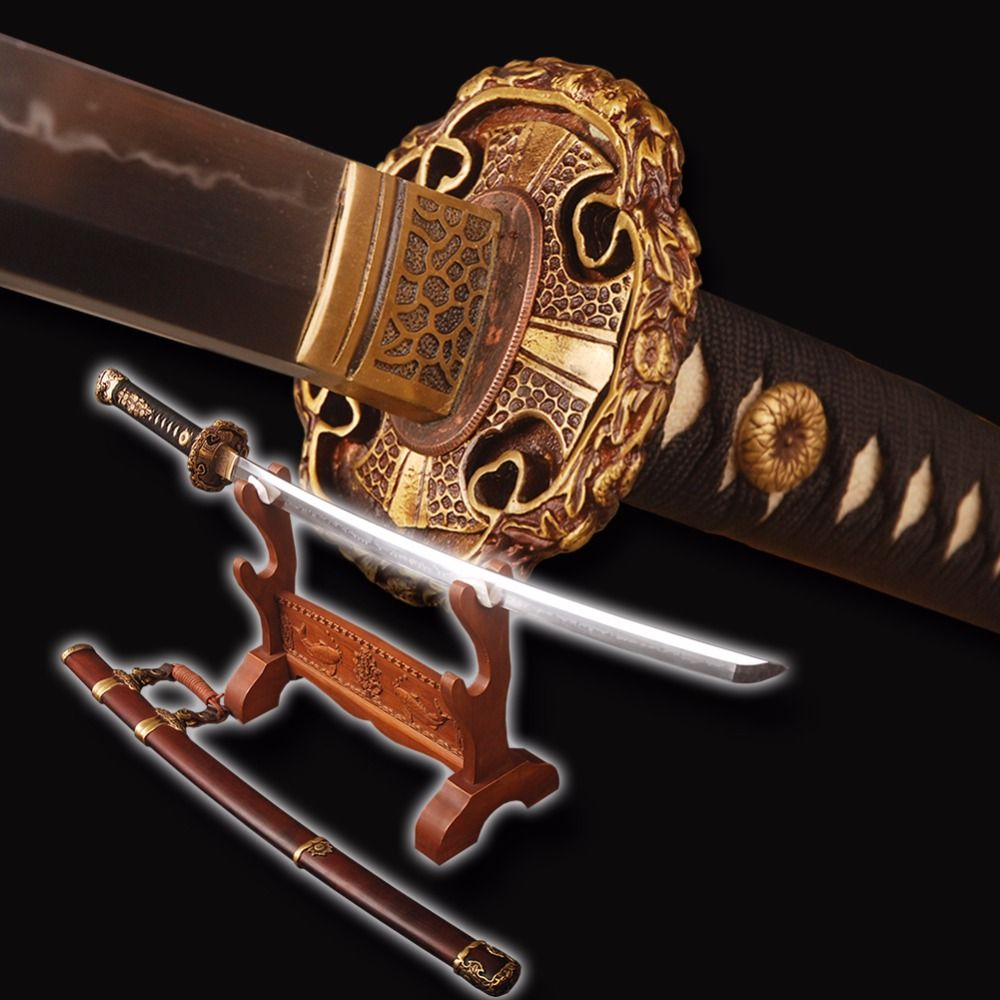 Top Quality Japanese Tachi Sword Fully Hand Polished Clay Tempered Samurai Sword Full Tang Very Sharp Battle Cosplay Sword