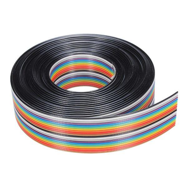 Nueva Llegada 5 M 1.27mm 20 P DuPont Cable de Línea Plana Del Arco Iris Soporte de Alambre Soldado