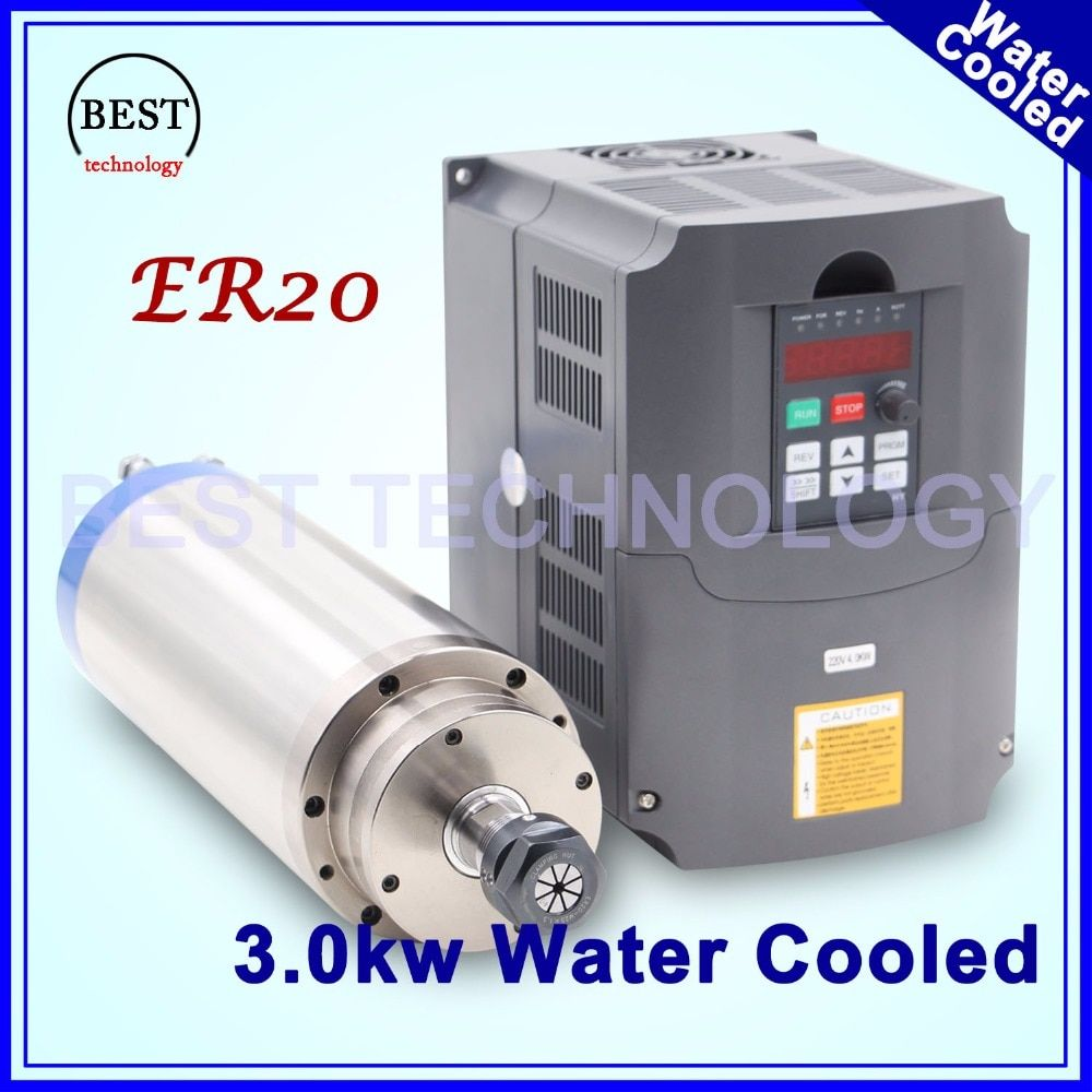 3kw spindle motor water cooling ER20 CNC Spindle Motor 4 Bearing & 4 kw VFD / inverter variable frequency driver speed control