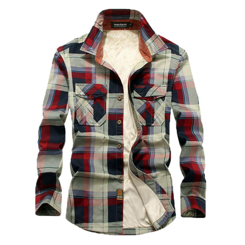 Fashion 2018 Autumn And Winter New Male Long-Sleeved Cotton Slim Fit Casual Men's Thick Plaid Shirts With Velvet Plus Size M-4XL