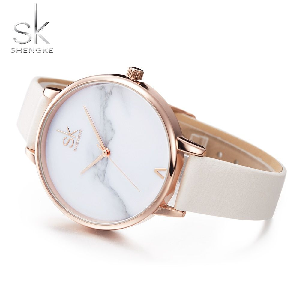 Shengke Top Brand Fashion Ladies Watches Elegant Female Quartz Watch Women Thin Leather Strap Watch <font><b>Montre</b></font> Femme Marble Dial SK