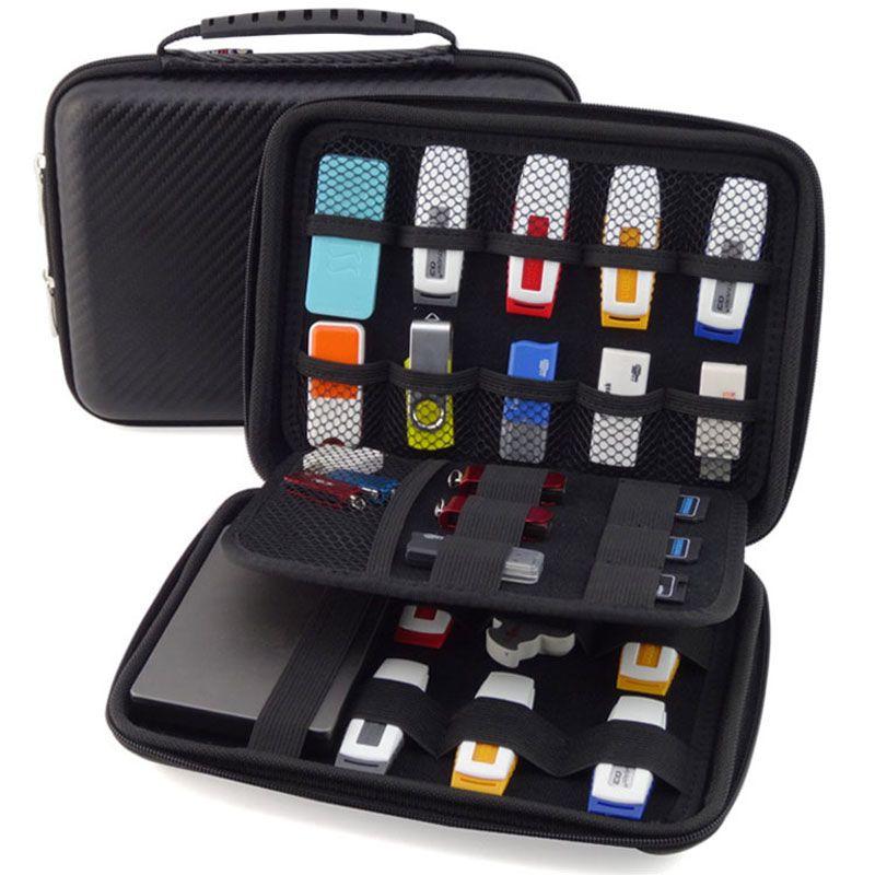 Accessoires de Gadgets électroniques de grande capacité sac de rangement de voyage pour disque dur U carte SD câble de données USB boîtier étanche EVA