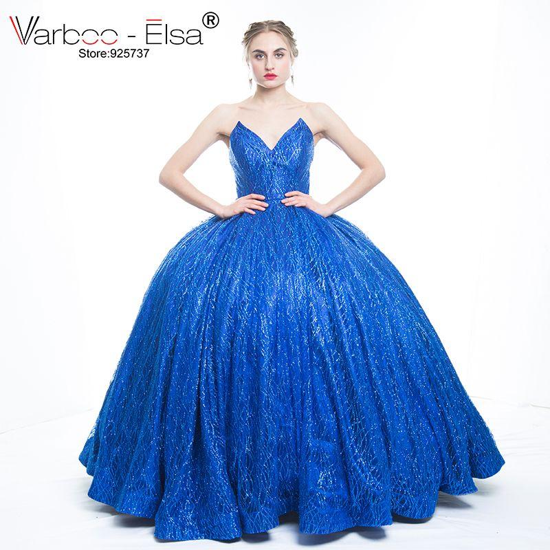 Lujo real Photo sexy V diseño largo azul real Vestidos de noche 2018 sin tirantes con lentejuelas vestido de fiesta vestido de festa Plus size