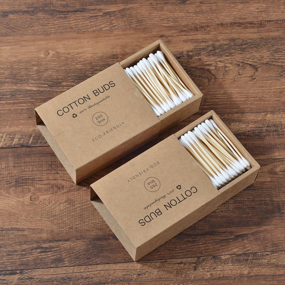1000 pièces Bambou Coton Bourgeons Double Tête Adultes Maquillage Coton-Tige Microbrosse Bois Bâtons Nez Oreilles Nettoyage Outils de Soins De Santé