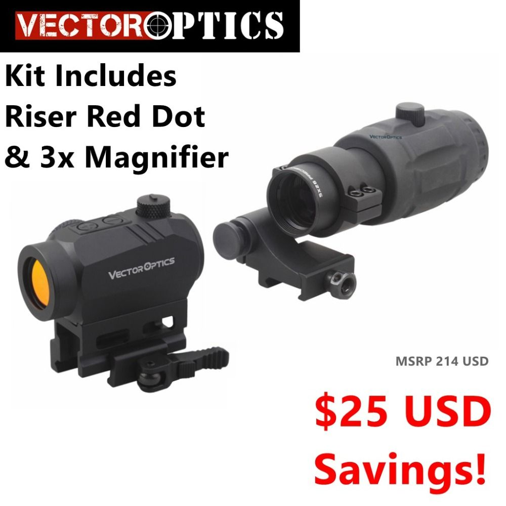 Vector Optics Magnified Red Dot Sight Kit - Includes Red Dot, Riser, & 3x Magnifier option for 4x 5x Magnifier TOP BRAND Quality