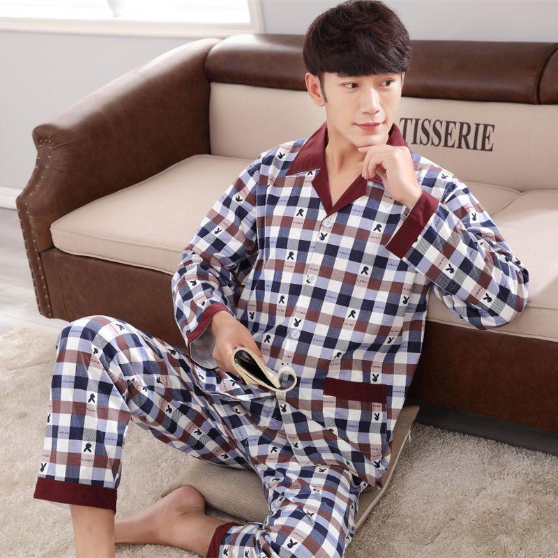 Frühling und herbst A04 männer schweiß langen ärmeln baumwolle strickjacke pyjamas