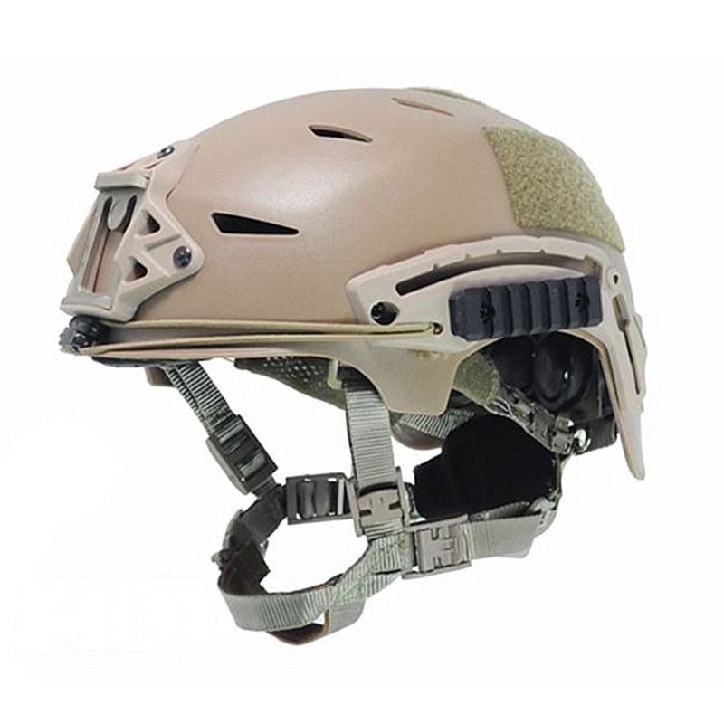 EXFLL Tactical Bump Helmet Rapid Reaction Combat Parachute Jump Camouflage Helmets Black / Desert for Paintball Airsoft Hunting