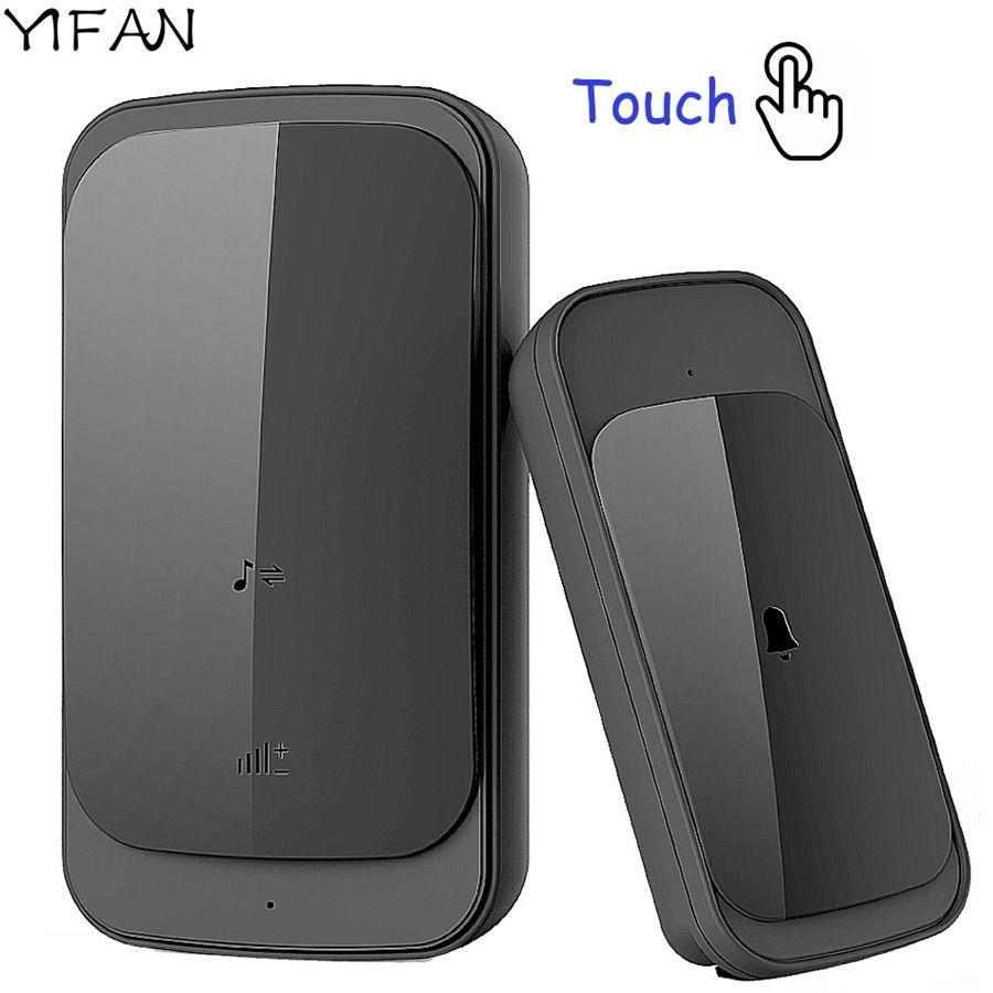 YIFAN étanche sans fil sonnette tactile EU US Plug mise à niveau 280 M longue portée smart porte sonnette carillon 1 bouton 1 2 récepteur