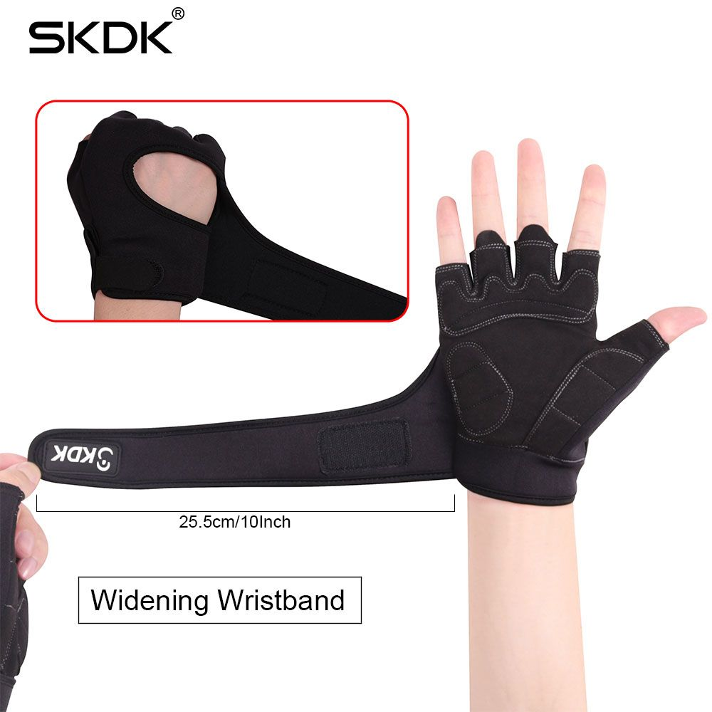 SKDK Super Fiber Widening Wristband Breathable Gym Fitness Gloves Crossfit Weight Lifting Dumbbell Body Building Workout Gloves